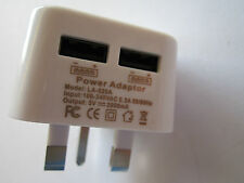 5V 2A 2000mA Double USB Port Plug White UK Mains AC Power Adapter Charger