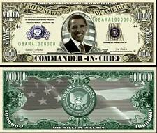 BARACK OBAMA BILLET MILLION DOLLAR US ! COMMANDANT EN CHEF PRESIDENT ETATS UNIS