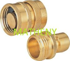 (q) Solid Brass Water Hose Quick Connector ~ Metal Connect Garden Coupler Valve