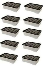 MULTI PACK OF 10 under bed 32 litre storage new (made in uk) CLEAR BASE