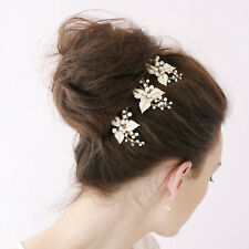 2pcs Crystal Rhinestone Pearl Flower Wedding Party Bridal Hair Comb Hairpin Clip
