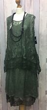 "SARAH SANTOS SAGE GREEN WOOL & LACE 2PC DRESS SIZE SMALL 46""B 18-20 LAGENLOOK"