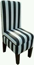 Handcrafted Black & White Striped vanity dining chair