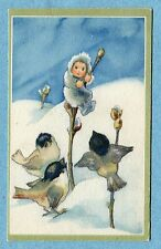 A2683  Postcard  Weber  Birds Around Fairy Child on Pussy Willow in Snow