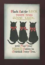 Animals CAT Silhouette Three Times Good Luck Used 1916 PPC