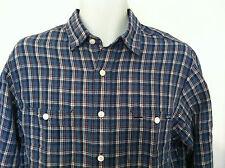 Polo Ralph Lauren Shirt Cotton/Linen Blend Navy/Med Blue Plaid LS Size XL NWT