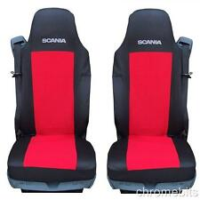 2 RED FABRIC TAILORED SEAT COVERS FOR SCANIA  G P R SERIES .LHD/RHD NEW