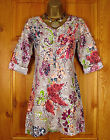RRP £49 NEW WHITE STUFF BEIGE GREY BLUE PINK GREEN FLORAL SUMMER TUNIC DRESS TOP