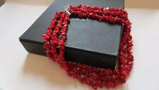 COLOURED ROCKS Triple Strand Red Coral Bead Sterling Silver Clasp Necklace Boxed