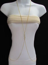 "New women gold long necklace body thin chains "" sexy "" pendant small rhinestones"