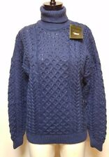 NWT Carraig Donn Blue Merino Wool Chunky Turtleneck Sweater Diamond + Cable Knit
