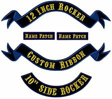 Custom Embroidered Rocker Ribbon Banner Patches Biker Motorcycle MC Club Tags