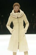 F/W 2004 Alexander McQueen Runway Beige Suede Leather Shearling Coat Jacket S