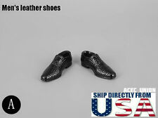 "1/6 Men Shoes Evening Dress Shoes BLACK For 12"" Hot Toys Phicen U.S.A. SELLER"
