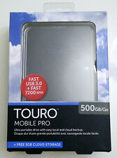 "NEW Hitachi Touro Mobile Pro 500GB External Hard Drive HDD USB 3.0 2.5"" 0S03105"