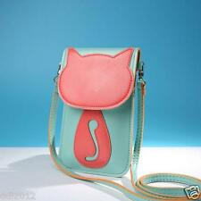 Cute Women Cartoon Cat Purse Bags Leather Crossbody Shoulder Phone Coin Bag