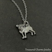 Silver Pug Charm Necklace - Puppy Dog Pendant Jewerly NEW