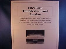 1965 Ford Thunderbird factory cost/dealer sticker prices for car + options $$