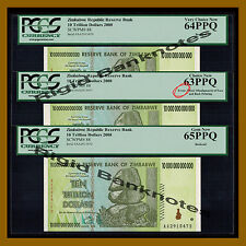 Zimbabwe 10 Trillion Dollars, ERROR 3 Pcs Set, 2008 AA PCGS 100 Trillion Series