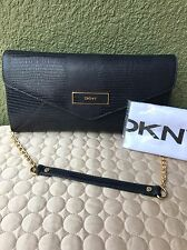 DKNY DONNA KARAN Lizard Leather Navy Women Flap Envelope Convertible Clutch