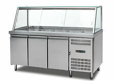 S.S   BENCH & DISPLAY FRIDGE SALAD COLD BAR WITH  CHOPPING BOARD 1800MMLONG