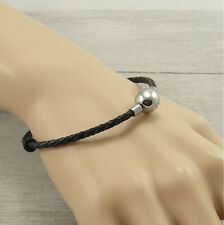 """8"""" Black Faux Leather Cord Charm Bracelet with Stainless Steel Snap Clasp"""