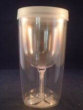 ~1 TRAVEL WINE GLASS/GOBLET W/ LID!  9 OZ TUMBLER, PLASTIC/no spill-sweat
