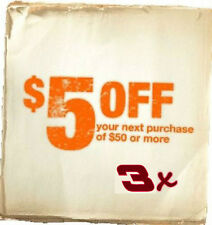 Three (3) Home Depot Coup0n $5 off $50 or more In Store Exp 12/26 Fast DELIVERY