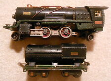 1930s PRE-WAR LIONEL # 260E O GAUGE STEAM LOCOMOTIVE & TENDER WITH GREEN FRAME