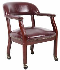 "Boss Office Products Burgundy Captain'S Chair W/ Casters 22"" W X 21"" D B9545-BY"