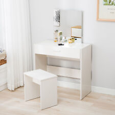 Vanity White Dressing Table Stool Set Makeup Dresser Desk With Mirror Drawer