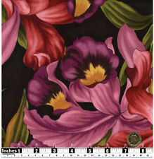 Quilting Fabric Pink Peach Yellow Burgundy Orchids Fat Quarters 100% Cotton