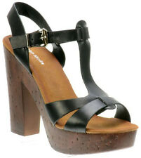 SIZE 6 BLACK WOODEN CHUNKY HIGH HEEL WOMAN STRAPPY  PARTY SANDAL OPEN TOE SHOE
