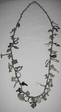 Old Lead Charm Necklace - 46 Charms - 100 yrs old - animals rings cars birds +