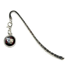 Drama Comedy Tragedy Masks - Acting Metal Bookmark Page Marker with Charm