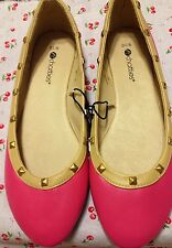 New Sexy Retro Pin-Up Hot Pink & Nude Studded Faux Leather Flats Size 9/10