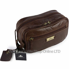 New Mens Rowallan Vintage Buffalo Leather Wash Bag Travel Toiletries Cognac