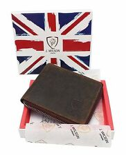 RFID SAFE Blocking Real Distressed Leather Designer Mens Wallet Contactless Card