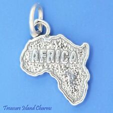 AFRICA CONTINENT MAP .925 Solid Sterling Silver Charm Pendant