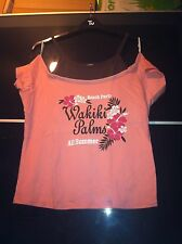New Look Inspire Waikiki Palms Pink Brown Beach Hawaii Top T-shirt Size 20 NWT