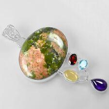 11.75 gm 925 Sterling Silver Amethyst Unakite Blue Topaz Garnet Pendant Jewelry