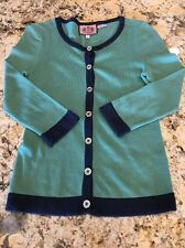 Juicy Couture Woman's Button Up Cardigan Sweater Shirt Size P EUC Green & Blue