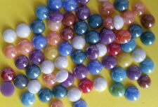 50 GLASS CABOCHONS 7-8mm Round & Flatbacked ~ Pearlised Glass ~ Mixed Colours