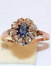 ANTIQUE FRENCH VICTORIAN 18k GOLD .45CT ROSE DIAMOND SAPPHIRE FLOWER RING 1900