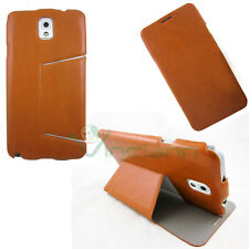 Custodia SLIM STAND lucida pelle per Samsung Galaxy Note 3 N9005 MARRONE cover