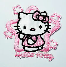 Fabric Badges Embroidered Holy Hello Kitty Pink Star Iron on Patch Applique