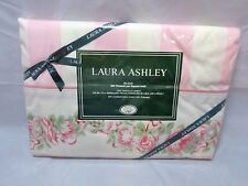 Vintage 80s LAURA ASHLEY Counter Rose PINK Stripe TWIN Flat SHEET New Old Stock