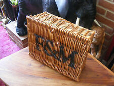 Vintage Small Fortnum & Mason F&M Hamper Wicker Picnic Storage Present Basket