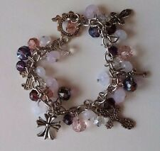"Beautiful Purple, White, Sliver Beaded Cross Charm 8"" Bracelet Fashion Jewelry"