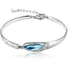 WHITE GOLD PLATED AUSTRIAN CRYSTAL BLUE BANGLE BRACELET